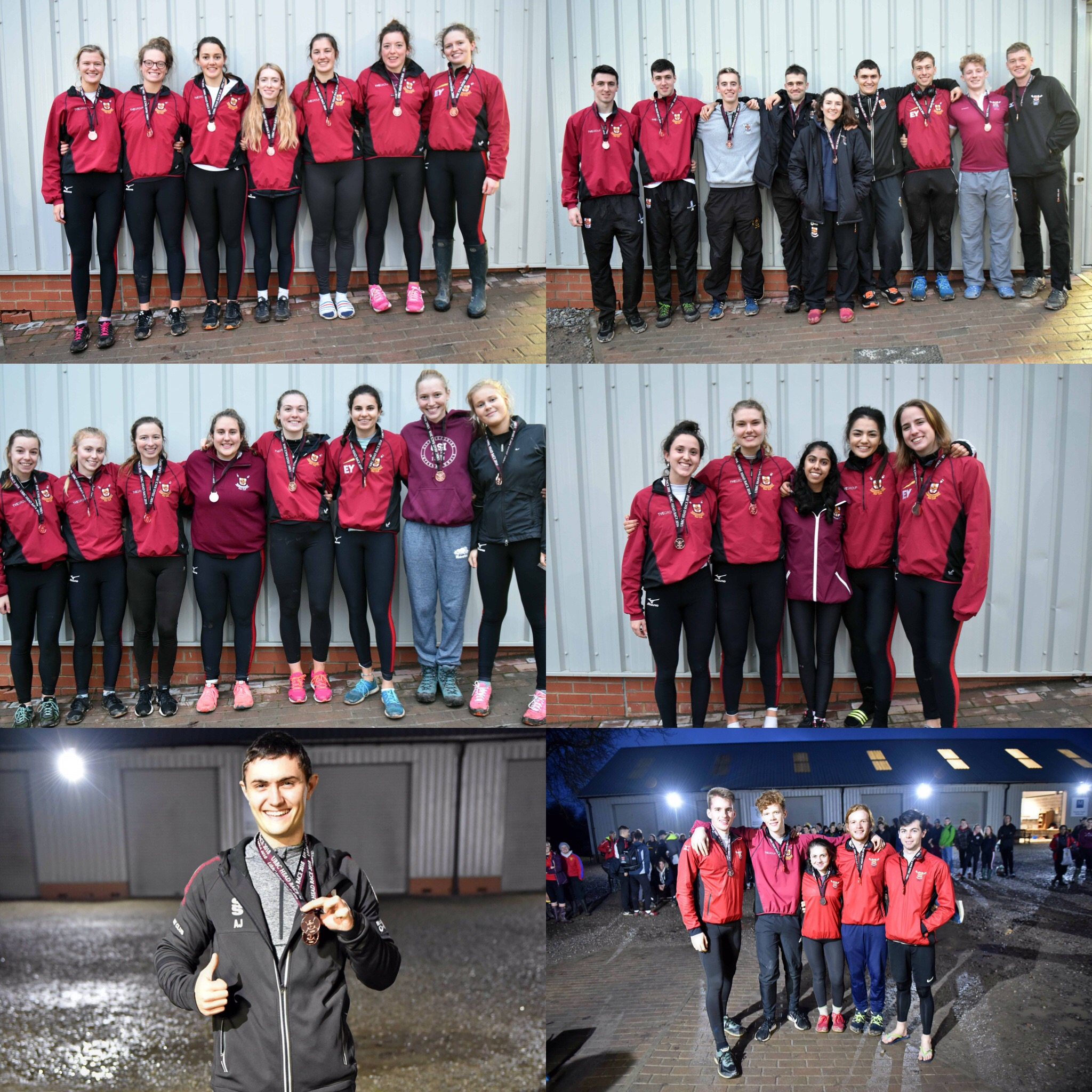 UBBC's Head Race 2018 Winners. From top left clockwise: Women's Championship Eight, Men's Championship Eight, Women's Intermediate Coxed Four, Men's Beginner Coxed Four, Men's Championship Single, Women's Intermediate Eight